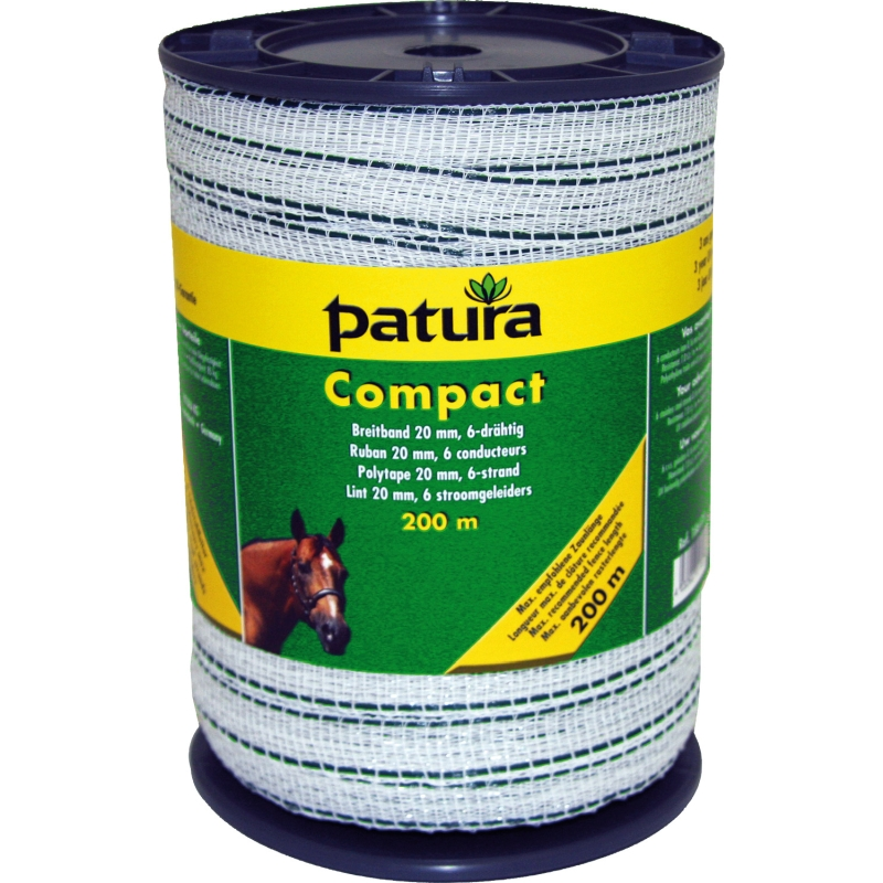 Patura compact lint 20mm wit groen 200m of 400m rol